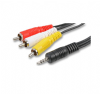 0.5m Jack to 3 RCA Cable - Audio and Video